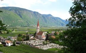 Обои деревня, поля, плантации, Италия, горы, Lana