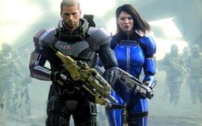 Картинка оружие, война, солдаты, броня, дробовик, винтовка, Mass Effect, Спектр, Mass Effect 3, шрамы, Коммандер Шепард, …