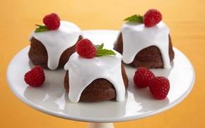 Картинка малина, еда, пирожное, крем, десерт, food, сладкое, кексы, cream, dessert, muffins, raspberries