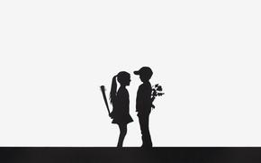 Обои цветы, девочка, дубинка, мальчик
