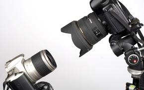 Картинка фон, камеры, зеркальные, цифровые, Canon EOS 300, Canon EOS 5D, штативы