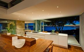 Картинка цветы, огни, стол, дерево, побережье, вид, стулья, дома, интерьер, окно, кухня, плита, вазы, шкафы