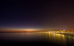 Картинка свет, ночь, огни, города, берег, побережье, вид, здания, дома, италия, места, full hd city