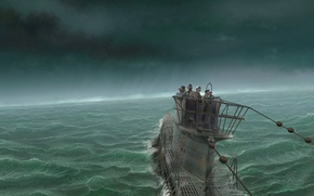 Обои Подлодка, команда, вода, буря