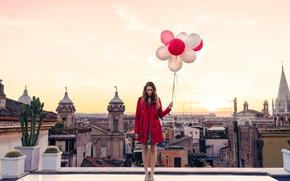 Картинка girl, twilight, Italy, sunset, dusk, Rome, balloons, roof