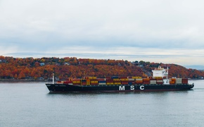 Картинка autumn, ship, autumn colors, containers