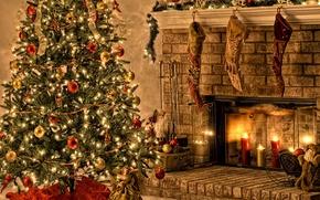 Обои Joy Peace Noel, красочные обои, новогодняя ёлка, свечи, ангел, украшения, Надпись, огоньки, Санта, камин, Дед ...