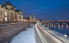 Картинка Germany, night, Dresden, winter, snow, street, blue hour, River Elbe