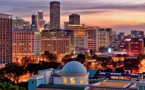 Картинка Madrasah Aljunied Al-Islamiah, небоскребы, здание, Singapore, дома, деревья, город, высотки, вечер, Сингапур