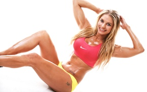 Обои perspiration, fitness, workout, abs, pose, blonde