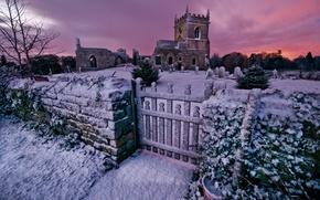Обои зима, закат, вечер, церковь, кладбище, руины, погост