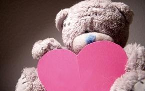 Картинка макро, настроение, праздник, подарок, игрушка, сердце, мишка, медвежонок, love, день валентина, плюшевый, сердечко, день влюбленных, ...