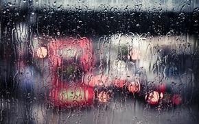Картинка стекло, вода, город, дождь, улица, ливень, потоки, bokeh