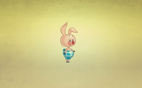 Обои минимализм, пятачок, Winnie-the-Pooh, улыбка, свинка, Винни-Пух