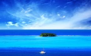 Обои море, лодка, Синий, остров