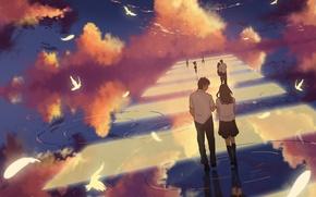 Картинка небо, вода, облака, птицы, отражение, девушки, аниме, арт, переход, форма, парни, школьники, dias mardianto, donsaid