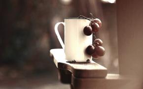 Картинка фон, виноград, чашка