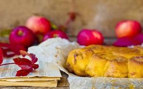 Картинка листья, ноты, яблоки, еда, ветка, пирог, фрукты, выпечка