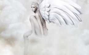 Картинка взгляд, лицо, поза, рендеринг, узоры, крылья, ангел