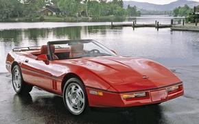 Обои chevrolet, corvette, convertible, c4, auto, walls, красный