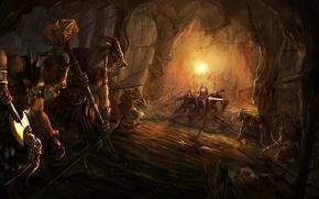 Картинка меч, воин, лук, арт, монстры, команда, рога, маг, пещера