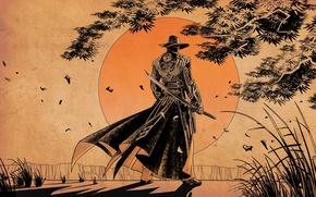 Картинка солнце, меч, самурай, red steel 2