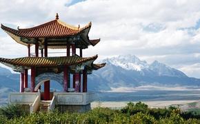 Обои снежные горы, китай, пагода