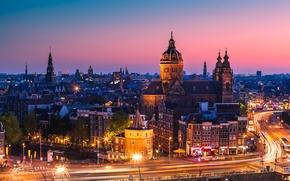 Картинка закат, машины, город, огни, здания, дороги, дома, вечер, выдержка, крыши, Амстердам, Нидерланды, улицы, Amsterdam, Nederland, …