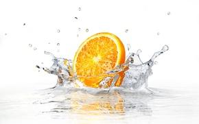 Картинка вода, брызги, белый фон, water, долька апельсина, white background, sprays, orange slice
