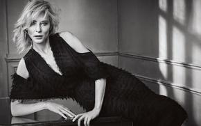 Картинка поза, фото, модель, макияж, платье, актриса, прическа, блондинка, черно-белое, Кейт Бланшетт, Cate Blanchett, Mark Abrahams, …