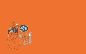 Обои минимализм, креатив, пальцы, арт, фон, рука, обои, ладонь, оранжевый