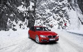 Картинка зима, дорога, снег, горы, бмв, BMW, red, красная, F30, 3 серия, 320d