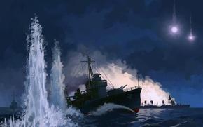 Картинка море, ночь, огни, рисунок, взрывы, корабли, ракеты, арт, сражение, Тихий океан, морской бой, Бугенвиль, Battle …