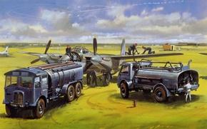 Картинка поле, рисунок, самолёты, заправщики, война.аэродром.взлётное, обслуживающий. персонал