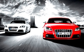 Картинка audi, cars, competition, two cars, full speed, white and red