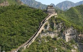 Картинка деревья, пейзаж, горы, природа, стена, китайская