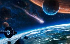 Картинка космос, фантастика, корабль, планета, комета, орбита, spaceship