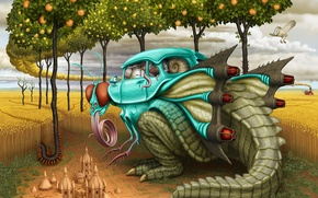 Обои Муха, Динозавр, Автомобиль, Рисунок, Арт