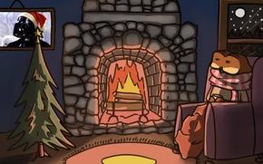 Картинка ночь, огонь, пламя, ковер, рисунок, елка, новый год, рождество, картина, шарф, Star Wars, Звездные войны, …