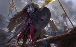 Обои Брюнхильда, Брунгильда, Brynhildr, арт, поле боя, викинги, art, рисунок, девушка, меч, щит, by FLOWERZZXU, fantasy, ...