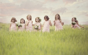 Картинка цветы, радость, поле, дети, девочки