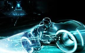 Обои tron 2, световой мотоцикл, чувак, neon