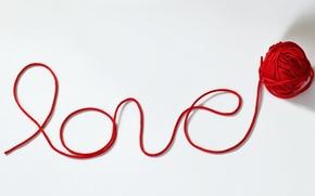 Картинка любовь, клубок, Надпись, нитка