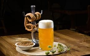 Обои пиво, алкоголь, кружка, ресторан, светлое