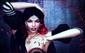 Картинка девушка, украшения, магия, яблоко, арт, амулет
