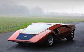 Lancia, оранжевая, асфальт, туман, трава,  обои