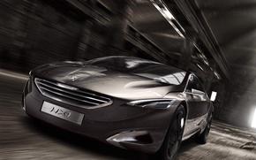 Картинка серый, скорость, concept, ангар, концепт, пежо, передок, peugeot, интересный дизайн, hx1