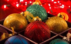 Обои игрушка, украшение, праздник, огни