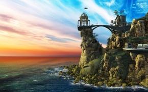 Картинка sky, sea, rocks, monastery