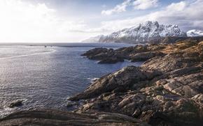 Картинка скалы, Норвегия, фьорд